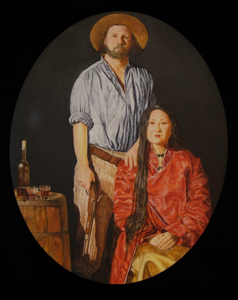 "Untold Gold #1 – Ah Toy and Henry Conrad, 18"" x 20"" Oval, oil and wax on  canvas, 2015.  Ah Toy was the second Chinese woman to arrive in San Francisco and Henry Conrad was her first husband in the U.S."