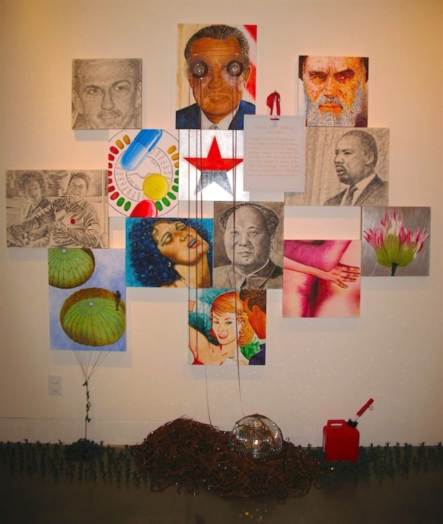 "The Unraveling (for Gore Vidal), oil and wax on linen on linen, paper, and aluminum on panels with mirror ball, recording tape and reels, plastic toy soldiers, gasoline container, 108"" x 90"" x 1.5"", 2014. How did we get here? It started with Lee Harvey Oswald in '63 and the single shot…Really?...the pill…Dr. Martin Luther King warned us of unchecked materialism and our lack of spiritual depth….then he was gone…It was the death of Mao Zedong and the rise of market Leninism…Linda Lovelace and Deepthroat and the Watergate break in…Was Richard M. Nixon truly our last liberal president?...he did create the EPA and OSHA…pill popping and ""Mother's little helper""…It was the Bay of Pigs fiasco…No, it was the Vietnam War…Jock Yablonski's murder and the death of labor unions…Odd and even days for getting gasoline depending on your automobile's license plate…Was Andy Warhol gay or asexual and did he really kill art by saying consumer products were art?... Reagan and Thatcher with their deregulation and neoliberal economics…that's what did it… Really?... Sayyed Ruhollah Mostafavi Musavi Khomeini led the 1979 Iranian Revolution that overthrew Mohammad Reza Pahlavi, the Shah of Iran….during his reign, the Iranian oil industry was briefly nationalized under Prime Minister Mohammad Mosaddegh before a U.S. and UK backed coup d'état, in 1953, overturned the regime and brought back foreign oil firms…In 1975 most of us were just ""Stayin' Alive"" on the dance floor every Friday and Saturday night…..In 1972 gas prices were 22, 24, and 26 cents a gallon…now it's $4.15, $4.25, and $4.35 a gallon...How did we get here?...""Whether you're a brother or whether you're a mother, you're stayin' alive, stayin' alive…feel the city breakin' and everybody shakin'…you're stayin' alive…stayin' alive …"