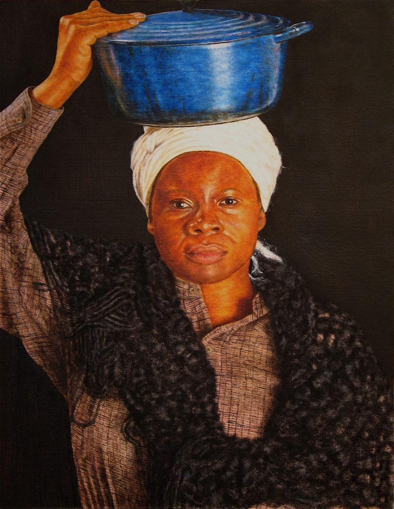 "Untold Gold #12 – Woman with a Dutch Oven, 14"" x 18"", oil and wax on paper on panel, 2017. ""Aunt Maria"", and other formerly enslaved women, inspired this portrait. The freed women sold food and sometimes ran boardinghouses for the miners in and around Sonora during the California Gold Rush."