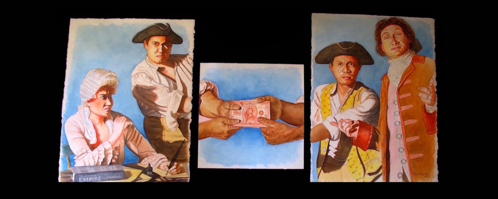 "Tug Of War, Triptych, 30"" x 70"", watercolor on Arches paper, 2016. The Time: Then and Now. Somewhere that resembles John Trumbull's painting, The Signing of the Declaration of Independence. AND Post-1776 and post-Constitutional Convention, 1787 and the war for capital."