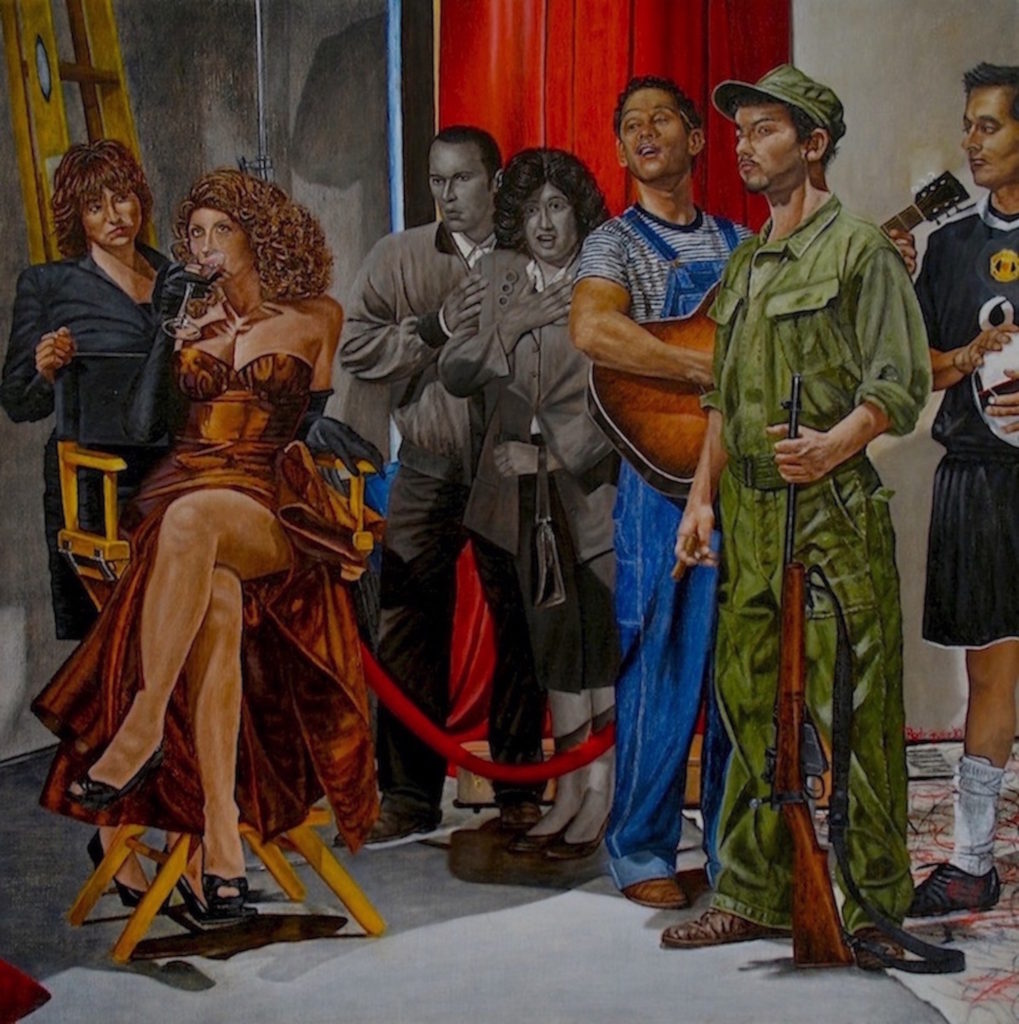 "The Late, Late, Late Capitalism Show, Oil and wax on linen on Panel, 18"" x 18"" x 1.5"", 2010 – All the world's a stage and this one is full of actors from the cinema and world history to the personal, Rita Hayworth, Pedro Infante as Pepe el Toro, Fidel Castro, and Obdulio. Then my parents, Pedro and Matilde, interrupt it all."