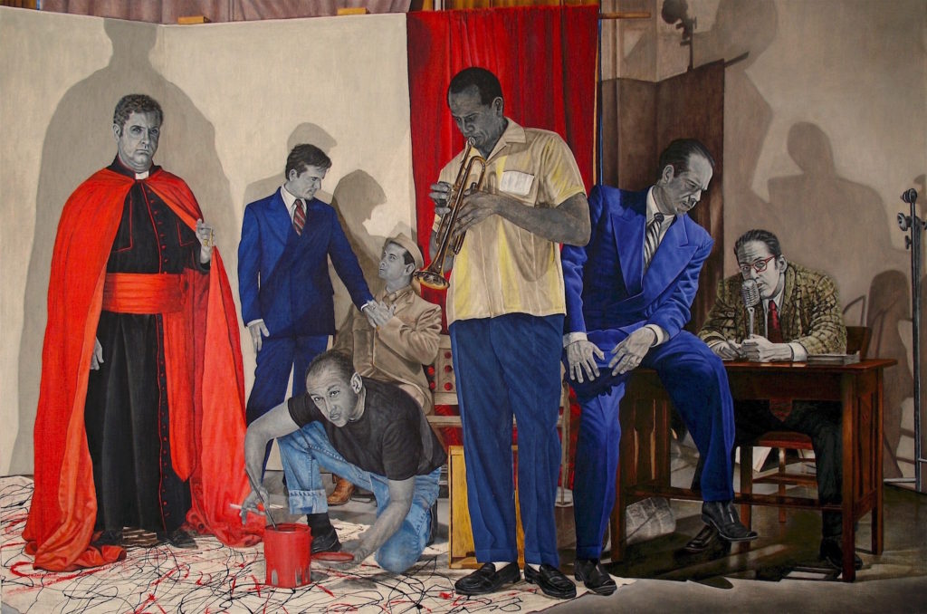 "How To Wage A Cultural Cold War, Oil and wax on linen on panel, 32"" x 48"" x 1.5"", 2011 – There he is at the center, Louis Armstrong. In the 1950s the U.S. government got into the culture business by sending famous musicians to other parts of the world under the auspices of goodwill. On the far left (but really the right) there's Bishop Fulton J. Sheen pontificating. On the far right (literally) in the beautiful blue suit is Senator Joseph McCarthy interrogating the playwright, Arthur Miller at HUAC. In the background are his protégé, Roy Cohn, and his best boy, David Schine. And there's me as Jackson Pollock, painter of the moment, throwing colored commotion everywhere"
