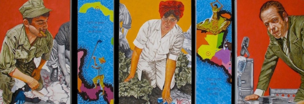 "History Exists But Imperialism Has Spaces To Hide It, Oil and wax on linen on panels, 18"" x 50"" x1.5"", 2012 - There can be revolutions from the left like the one in Cuba with Fidel Castro. There were revolutions from the right with Senator Joseph McCarthy red-hunting. In the middle is the laborer. In this case she is in the fields. Where have all the unions gone? Between all of this is the pretty blue sea, the Caribbean, to be exact. And it's being sold as paradise or exotica. Like the slogan says, ""Discover the exciting world...... right at your own back door."" Pero cuidado, History exists... but whose History?"