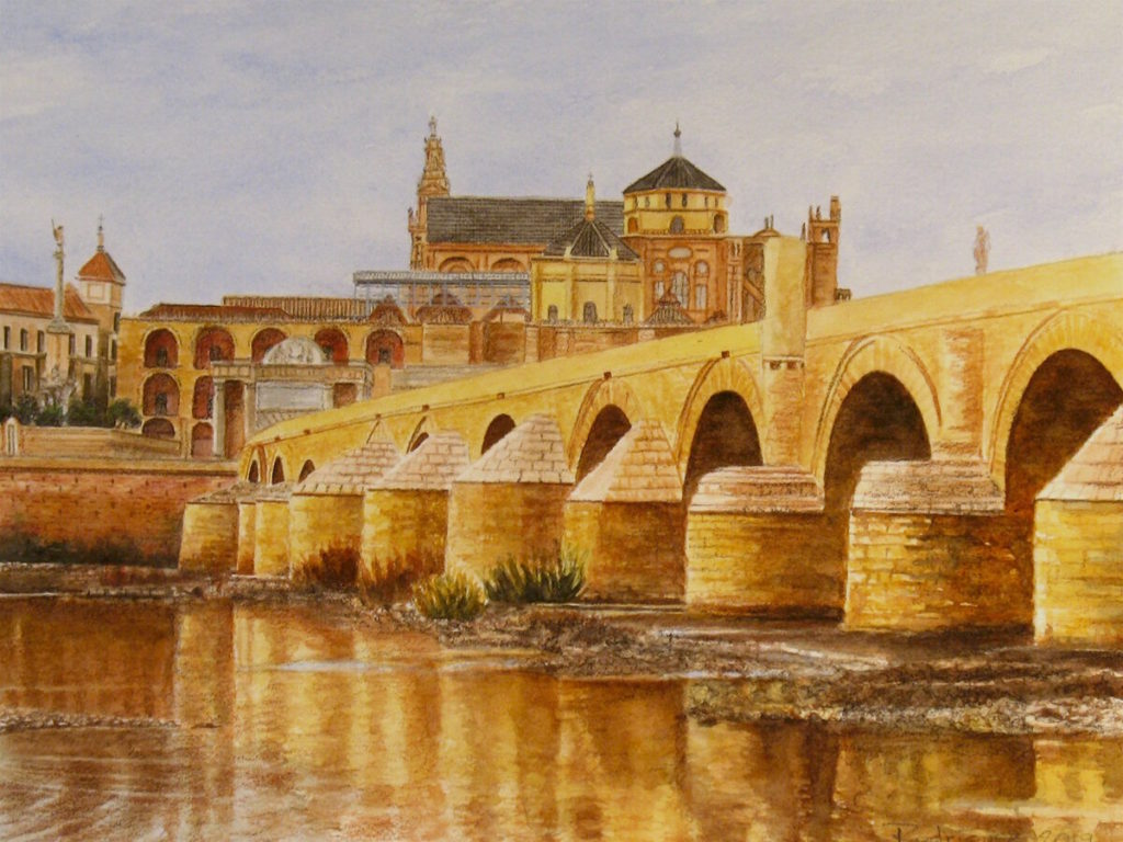 "Roman Bridge, Córdoba, 9"" x 12"", watercolor on Arches cover paper, 2019"