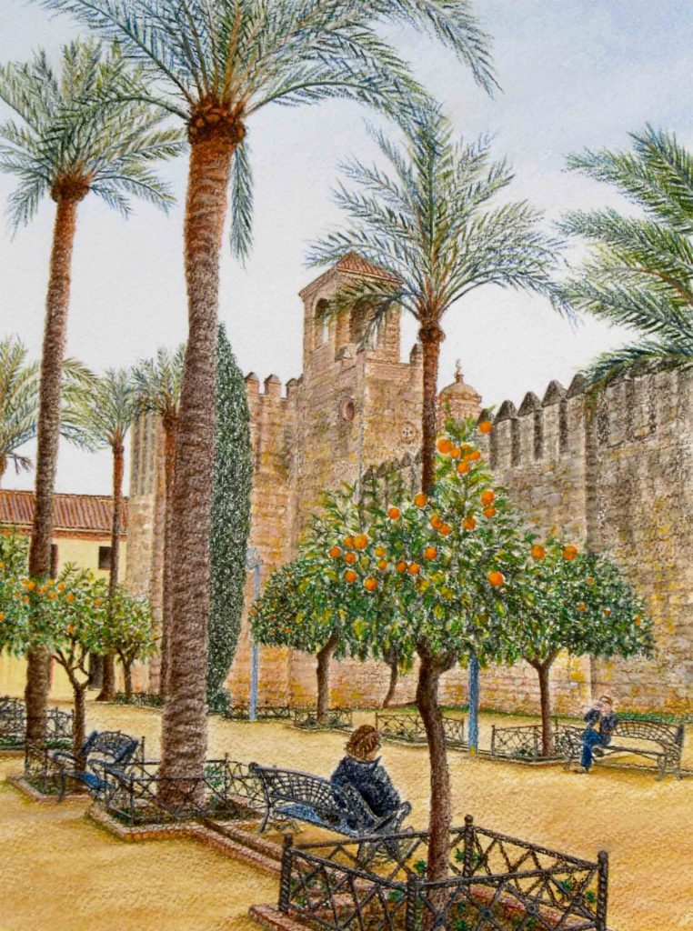 "On the grounds of The Great Mosque of Córdoba, 12"" x 9"", watercolor on Arches cover paper, 2019"