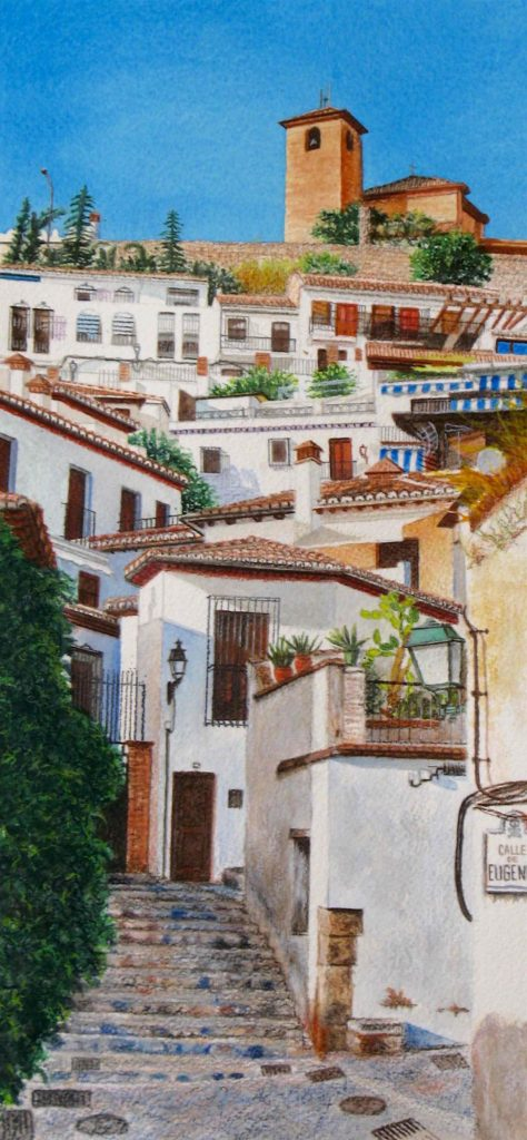 "Albaicín, Granada, 14"" x 6.5"", watercolor on Arches cover paper, 2019"