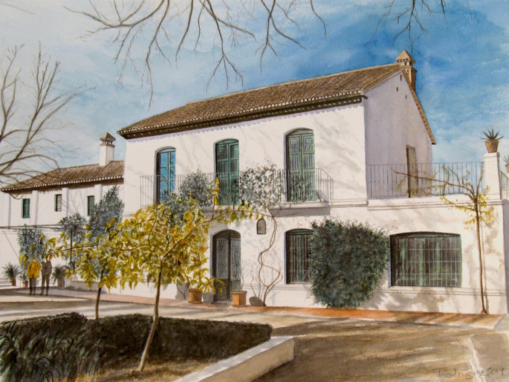 "Federico García Lorca House-Museum at Huerta de San Vicente, Granada, #2, 11"" x 14"", watercolor on Arches cover paper, 2019"