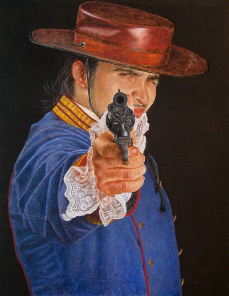 "The Spanish Soldier in Alta California, oil and wax on Arches paper on panel,18"" x 14"", 2020"